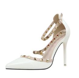 b334df579b40 Gladiator Sandals Kitten Heels UK - Women Slender High heel Sandals Hollow  rivet Night club fashion