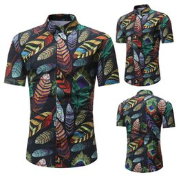 $enCountryForm.capitalKeyWord UK - Summer Men Floral Shirt Short Sleeve Colorful Feathers Printed Beach Travel Slim Casual Shirts AIC88