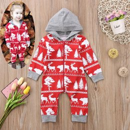Toddler Christmas Boy Australia - XMAS Christmas Baby Boys Girls RED Romper Cartoon Deer Hooded Toddler Long Sleeve Jumpsuit Fashion Infant elk Onesie 0-2T