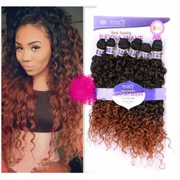 Wholesale New Arrival High Quality Ombre Colored Hair Weave Pieces quot quot quot Water Wave Synthetic Hair Deep Curly Hair Weave For Women