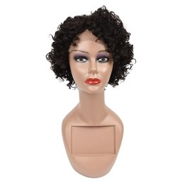 China Short Wigs Brazilian Virgin Hair Kinky Curly Hair Lace Front Wigs Human Hair Wigs 10inch For Black Women Swiss Lace Frontal Wig cheap indian laced wigs suppliers