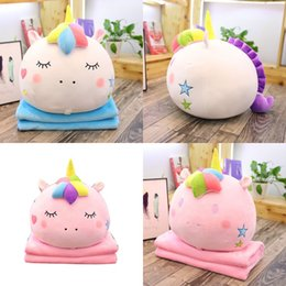 One tOwel online shopping - Unicorn Air Conditioning Blanket Plush Toy Pillow Sofa Cushion Towel Throw Home Decoration Two In One Factory Direct fj hh