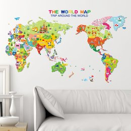 Shop kids world map sticker uk kids world map sticker free cute funny animal wall stickers for kids rooms living room home decor world map wall decor mural art gumiabroncs Gallery