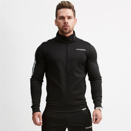 Chinese  Men's Fitness Hoodies Crossfit Pullover Zipper Jacket Sweatshirts Bodybuilding Sportswear Fashion Hoodies manufacturers
