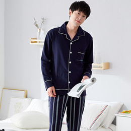 998a9fbd1 2018 Pyjama Sets In The Rooms Long Sleeved Cotton Autumn Winter Men s Pajamas  Striped Sleepwear Male Sleep Lounge Big Size L-3XL