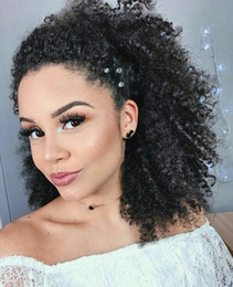 human hair straight drawstring ponytail Australia - 160g Short human hair ponytail hairpieces clip in high afro kinky curly human hair drawstring ponytail hair extension for black women