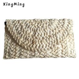 $enCountryForm.capitalKeyWord Canada - XINGMING 5pcs lot Straw Bag Women Elegant Braided Clutch Handbag Envelope Hasp Beach Bag