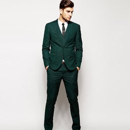 Cheap winter Clothing sets online shopping - Cheap Three Pieces Green Men s Formal Tuxedos Two Button Notched Lapel Causal Clothes Groom Wear Wedding Suits Sets