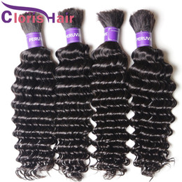 cheap brazilian deep wave hair 2021 - Top Deep Wave Brazilian Hair Weave in Bulk No Attachment Cheap Curly Bulk Human Hair Extension Wefts For Braiding 3 Bund