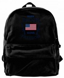 $enCountryForm.capitalKeyWord UK - Beer Bacon Guns And Freedom Fashion Canvas Best Backpack Unique Camper Backpack For Men & Women Teens College Travel Daypack Black