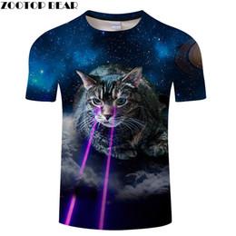 anime cat t shirt 2019 - Flash Eye Cat tshirt Animal t shirt Men t-shirt Galaxy Top Autumn Tee Anime Clothing Streatwear Short Sleeve DropShip ZO