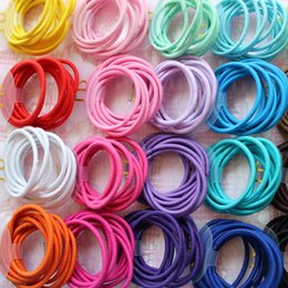 Kids Elastic Hair Rope NZ - Wholesale 50 Pcs Elastic Hair Band Candy Color Headband Solid Kids Hair Ropes Ponytail Holders Rubber Accessories for Girls