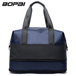 laptop sizes 2018 - BOPAI Brand Men Bag Travel Scalable Bag Handbag Shoulder Men Rucksack Male Fashion Laptop Tot Color Blue Size 43*25*21.5