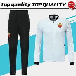25897e477 Roma Long Sleeve Jacket Kits White Soccer Jersey 2019 Rome Black Training  Uniform 18 19 Football Suits Jacket+Pants On Sales