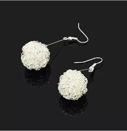 $enCountryForm.capitalKeyWord NZ - 10 pcs  pack Fashion Hollow Out Ball Silver Color Dangle Earrings Beads Drops For Women Jewelry DIY Material Findings F1756