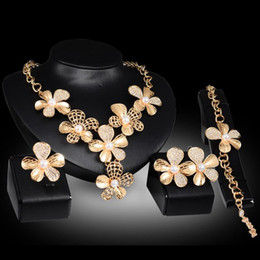 pearl sets Australia - Earrings Necklaces Bracelets Rings Jewelry Sets Luxury Quality Pearl & Rhinestone 18K Gold Plated Flowers Wedding Jewelry 4-piece Set JS044
