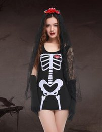 $enCountryForm.capitalKeyWord NZ - Halloween Ghost Cosplay Dress adult female Sexy human skeleton costume fashion women dress Scarey fantasia infantil