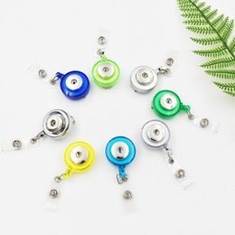 wholesale plastic snaps Canada - Mixed Colors Plastic Snap Button Jewelry Accessories Retractable Badge Reel Key ID Card Clip Ring Lanyard Fit 18MM Snap Charm