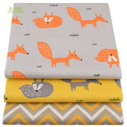 $enCountryForm.capitalKeyWord Australia - Chainho,Yellow Fox ,Cartoon Printed Twill Cotton Fabric,DIY Quilting Sewing For Baby&Children Sheet,Pillow,Cushion,Toys Material