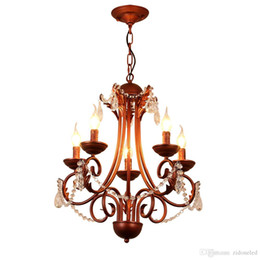 $enCountryForm.capitalKeyWord NZ - American classical iron crystal pendant lights K9 crystal chandelier lighting fixtures purple bronze chandeliers home decor 5 6 8 heads