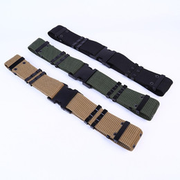 Types Belts Men Canada - 125cm Canvas Waistband Braided S Type Outdoor Belts BDU Square Plastic Buckle Tactical Belt For Men And Women 7hp B