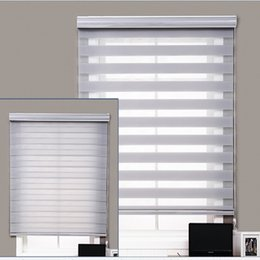 Chinese  Customized Dual Sheer Jute Fabric Day And Night Motorized Manual Zebra Roller Blinds For Windows manufacturers