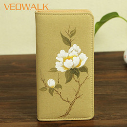 Wallet Painting Australia - Veowalk Chinese Flower Hand Painting Womens Canvas Purse Multi-Function Phone Coins Cards Keys Zip Up Ladies Big Wallets