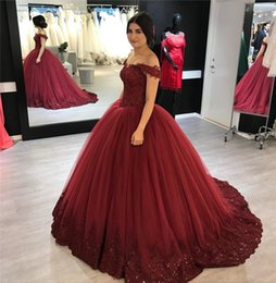 $enCountryForm.capitalKeyWord Canada - Burgundy Ball Gown Lace Prom Dresses 2019 Off Shoulder Plus Size Vintage Sequined Beaded Puffy Tulle Skirt Cheap Quinceanera Evening Gowns