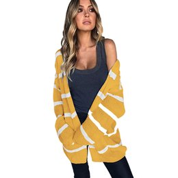 Women Long Knitted Cardigan Coat Striped Open Front Long Sleeves Yellow  Autumn Winter Fashion Knitwear Pockets Loose Outwear 7581afa5d