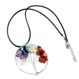 $enCountryForm.capitalKeyWord UK - 2 Style Wire Wrap 7 Chakra Gemstone Pendant Tree Of Life Pendant Crystal Necklace Gemstone Chakra Jewelry Mothers Day Gifts H110S