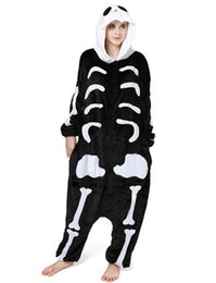 women s skeleton costumes UK - Adults' Human Skeleton Kigurumi for Halloween and Day of the Dead Women and Men Onesie Skull Costume