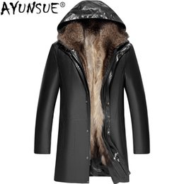 jacket cuero Australia - AYUNSUE 2018 Genuine Leather Jacket Men Winter Sheepskin Coat for Men Real Racoon Fur Liner Long Chaqueta Cuero Hombre KJ1250
