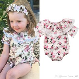 $enCountryForm.capitalKeyWord Australia - Retro floral baby girl romper onesies lace flower ruffle jumpsuit outfit short sleeves kid girls clothing roupas bodysuit sunsuit 0-24M