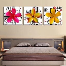 art canvas prints Australia - Canvas Painting Wall Art Home Decor For Living Room Framework 3 Pieces Plumeria Rubra Pictures HD Prints Coloured Flowers Poster