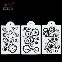 Discount decorative painting tools Mechanical Gear Screw Cake Stencil Strew Pad Baking Mould Cupcake Wall Painting Decorative Embossing Cards DIY Craft Too