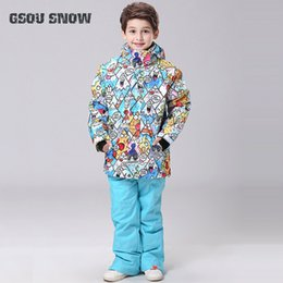 $enCountryForm.capitalKeyWord Australia - GSOU SNOW Kids Ski Suit Skiing Snowboard Jacket Pant Super Warm Windproof Waterproof Clothing Boys Girls Ski Jacket Trouser Set