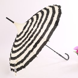 pagoda umbrellas wholesale Australia - Hot sell 50pcs lot Princess Stripe Frill Pagoda Umbrella,ivory with black frill deocration Wedding Umbrella for good quality
