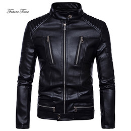 Discount motorcycle jacket 4xl - Mens Jacket Boutique Punk Multiple Zipper PU Leather Outerwear Male Handsome Motorcycle Leather Jacket Solid Streetwear