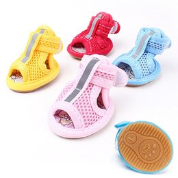 Summer Dog Shoes Australia - 4pcs lot Spring Summer Breathable Soft Mesh Dog's Sandals Casual Anti-Slip Small Dog Shoes Cute Pet Shoes