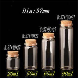 Discount glass pill bottles - Glass Bottle with Cork Stopper Empty Jars Vial 20ml 50ml 65ml 90ml Sweets Vanilla Pill Food Perfume Gift Bottle Containe