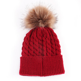 5f42e7711e1 Naiveroo Womens Mommy-Baby Boys Girls Warm Knitted Fur Ball Pom Knitwear  Bonnet Beanies Crochet Caps Hats Accessories Gift S4650