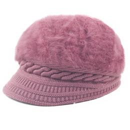 b5a08a4399e 10PCS LOT SINGYOU Women Winter Hat Rabbit Hair Warm Berets Ladies Elegant  Knitted Hats Solid Color Thicken Women Cap