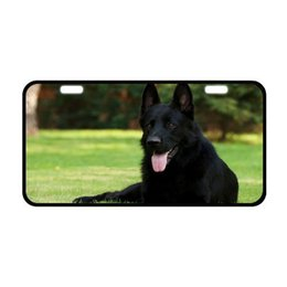"""Dog Plates Australia - Sturdy and Beautiful License Plate Holders Awesome Black German Shepherd Dog Design for Cars Decorative Front Plate 6.1"""" X 11.8"""""""
