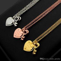 letter t pendants 2019 - T letter LOVE heart double key double necklace ladies foreign trade heart necklace discount letter t pendants