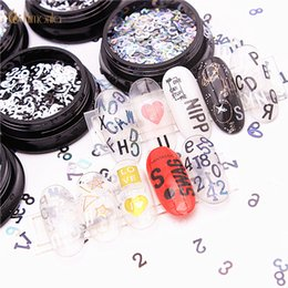 Discount digital laser tool - Fashion 1pcs Laser Nail Sequins Black and White Nail Art Stickers English Alphabet Digital Decoration Beauty Tools