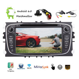 ford car dvd dash Canada - Wireless Camera WiFi 7'' Android 6.0 Quad-Core Car DVD Navigation GPS Stereo for Ford AM FM Radio WiFi Bluetooth Mirrorlink USB SD