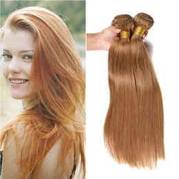 colored remy hair NZ - Brazilian Honey Blonde Human Hair 3 Bundles Wholesale Colored 27# Straight Honey Blonde Virgin Human Hair Weave Extensions