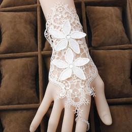 Bridal Jewelry Sets Lace NZ - Vintage Bride Wedding Bracelets White Lace Mesh Flower Bridal Jewelry Handmade Elegant Women Party Bracelet Z30