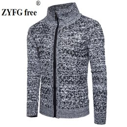 sweater zippers Australia - New 2018 style autumn winter men casual sweater men's keep warm fashion solid color zipper Lapel Sweater coat clothes EU size