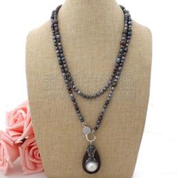 "Necklaces Pendants Australia - N060410 46"" Black Pearl Necklace White Keshi Pearl Wood Pendant"